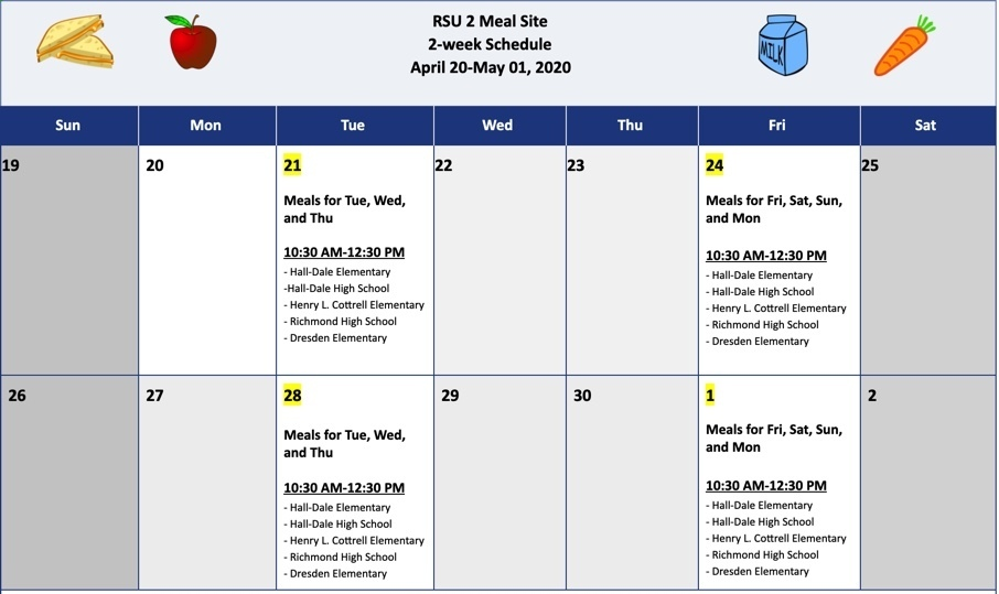 RSU 2 Meal Site Schedule April 20-May 1