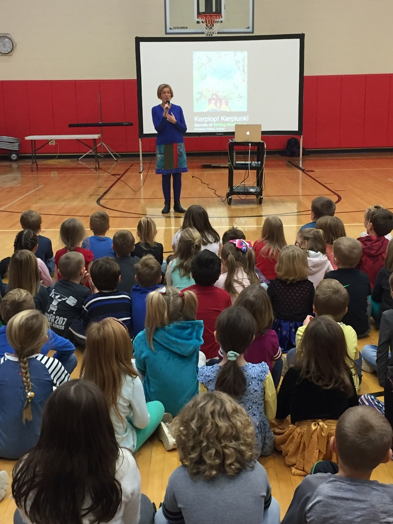 Maine author, K.Ridley, presenting to students.