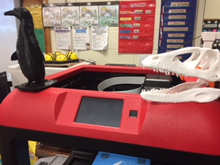 Gr 1/2 created a penguin and a Deinonychus skull using the 3D printer.